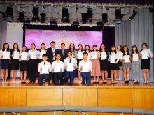 Scholarship awardees in our school's HKDSE Prize-Giving ceremony, 2016