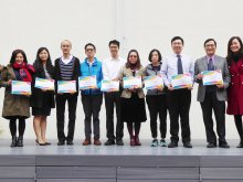 Principal Dr. POON Suk-han, Halina, MH (First from Right) presents Outstanding Teachers selected by teachers to (From Right to Left) Mr. HO Man-chun, Vice Principal Mr. HUI Shing-yan, Ms. LUK Kwok-mun, Ms. NG Wai-chun, Mr. LAU Kam-fai, Ms. CHOW Wing-Hei, Mr. KWAN Yuk-lun, Vice Principal Ms. TSUI Yuk-ching, , Ms. WAN Kit-ping and Mr. PANG Ying-wai
